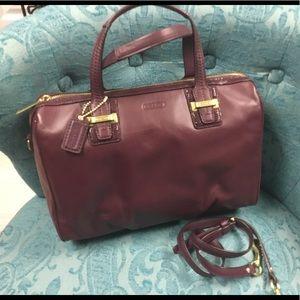 COACH Wine Color Leather Satchel w/strap